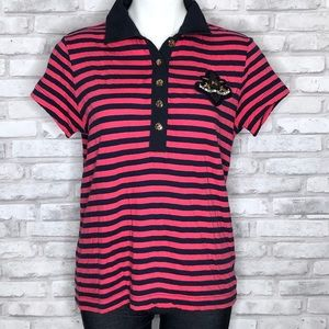 Tory Burch pink and navy stripe polo w/ anchor LG